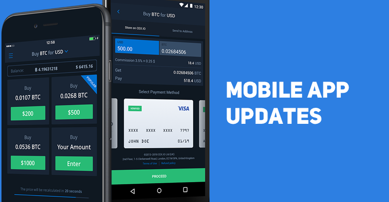 New Features for CEX.IO Mobile App