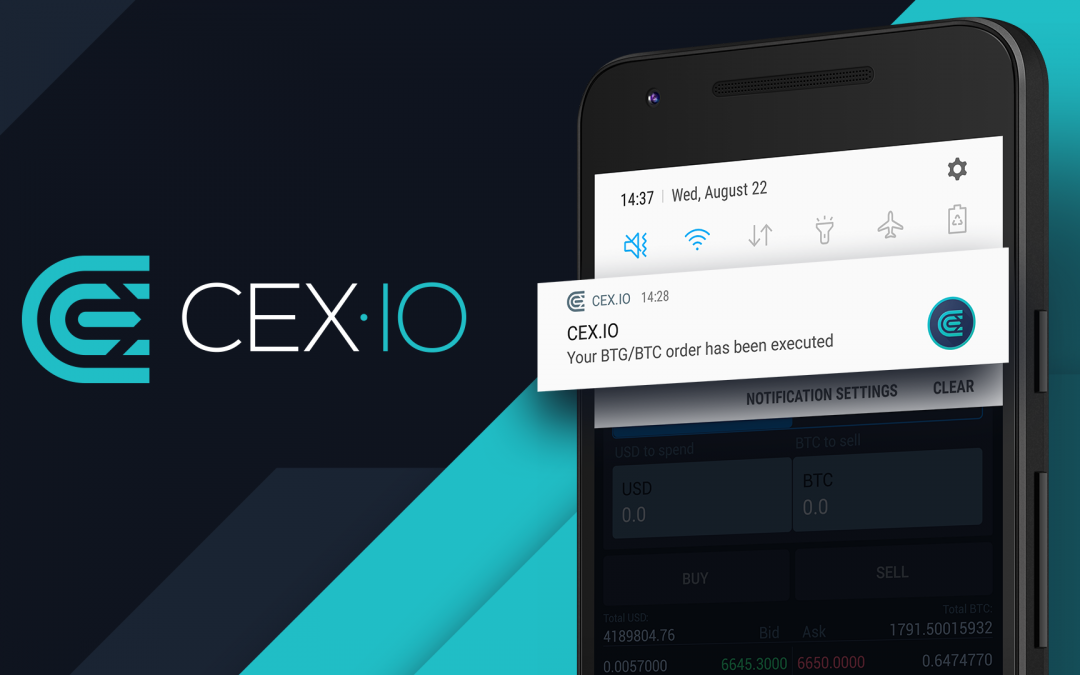Order Completion Notifications in CEX.IO Mobile App
