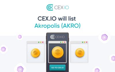 CEX.IO to list Akropolis (AKRO)